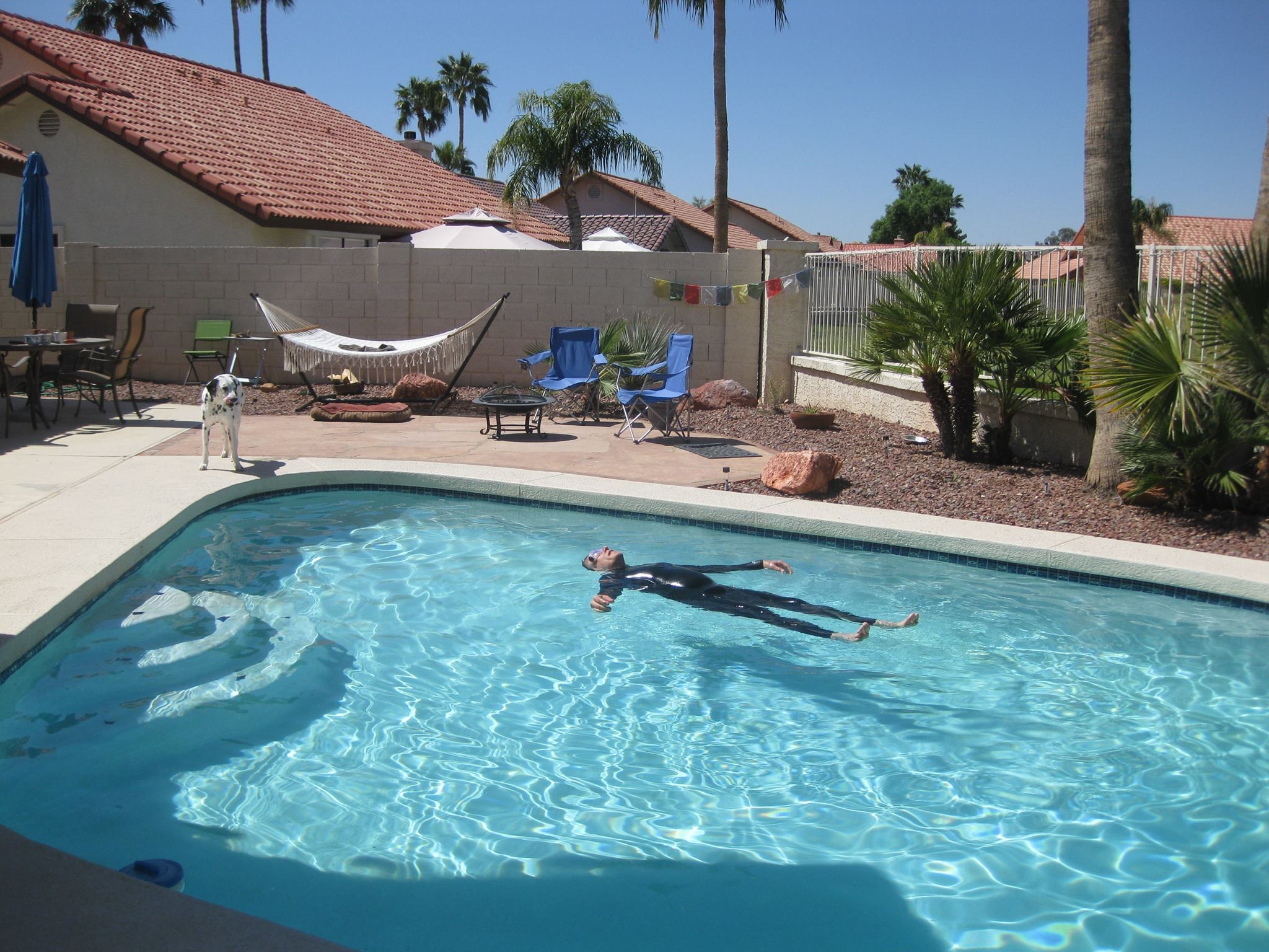 Chuck floating in the pool right after we bought our house in Arizona